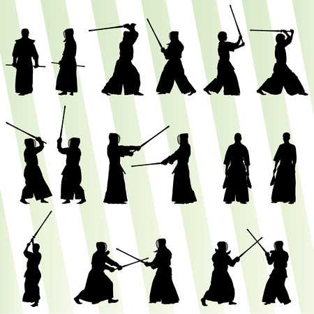 Active japanese Kendo sword martial arts fighters sport silhouettes set vector Banco de Imagens - 27496643