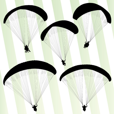 Paragliding active sport background set vector for poster Vector