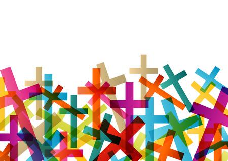 simbolos religiosos: Cristianismo concepto religión cruz fondo abstracto ilustración vectorial