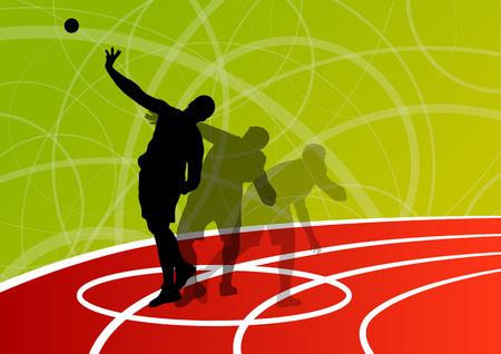 lanzamiento de bala: Atletismo deporte masculino. Bola que lanza colección de siluetas. resumen ilustración, vector de fondo para el cartel
