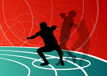 Male sport athletics. ball throwing silhouettes collection. abstract illustration, background vector for poster