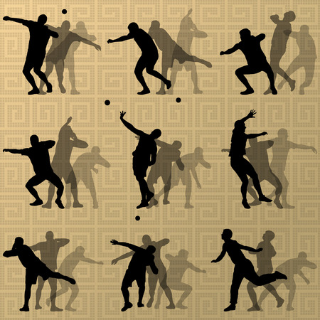 shot put: Male sport athletics. ball throwing silhouettes collection. abstract illustration, background vector