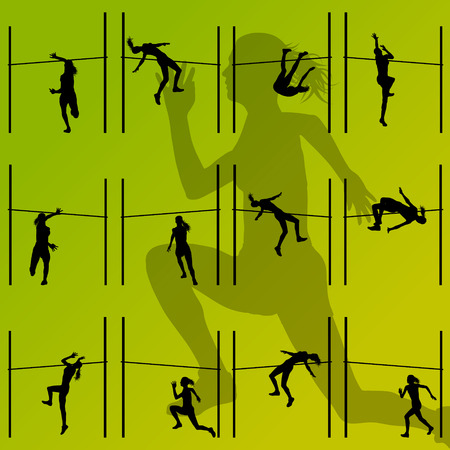 high jump: High jump athletics active women girls sport silhouettes concept illustration collection background vector