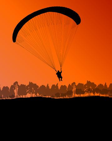 paragliding: Paragliding vector background landscape concept vector for poster
