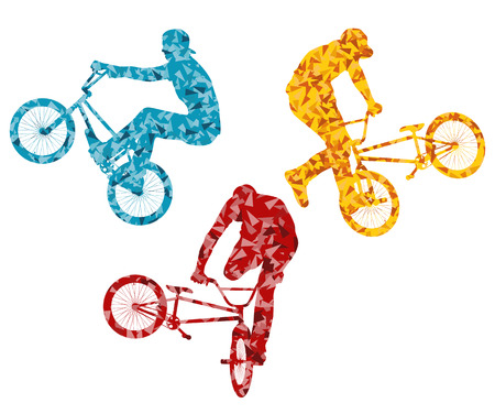 stunts: Extreme cyclists bicycle riders active teenager vector background concept
