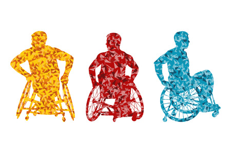 invalid: Active disabled men wheelchair vector background concept for poster Illustration