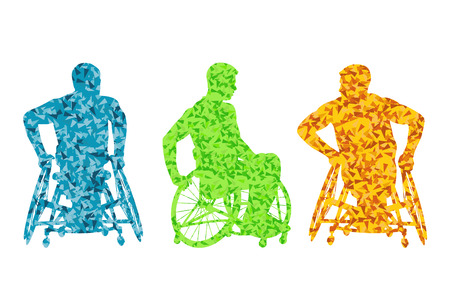 Active disabled men wheelchair vector background concept for poster Vector