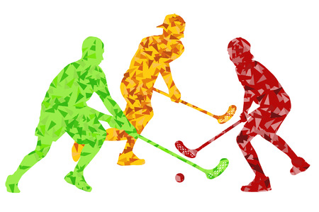 floor ball: Floorball players vector silhouette background abstract concept