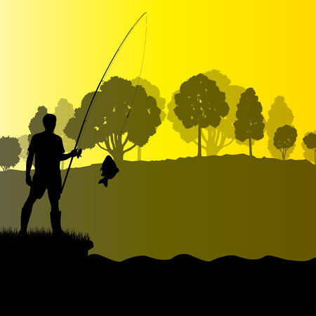 fisher man: Fisherman, angler vector background landscape concept with trees and river Illustration