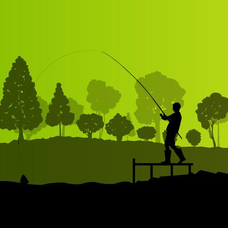 낚시꾼: 나무와 강 어부, 낚시꾼 벡터 배경 풍경 개념 일러스트