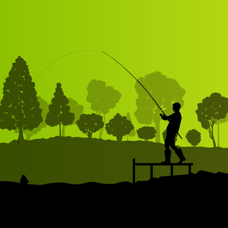 Fisherman, angler vector background landscape concept with trees and river Vector