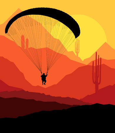 glider: Paragliding vector background landscape concept vector with mountains Illustration