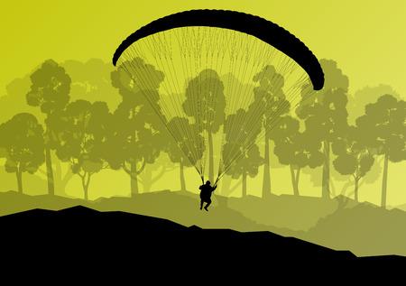 Paragliding active sport background landscape concept vector for poster Vector