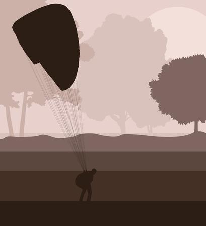 paragliding: Paragliding active sport background landscape concept vector for poster
