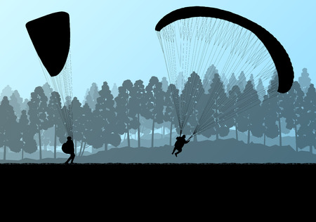 gliding: Paragliding vector background landscape concept vector for poster