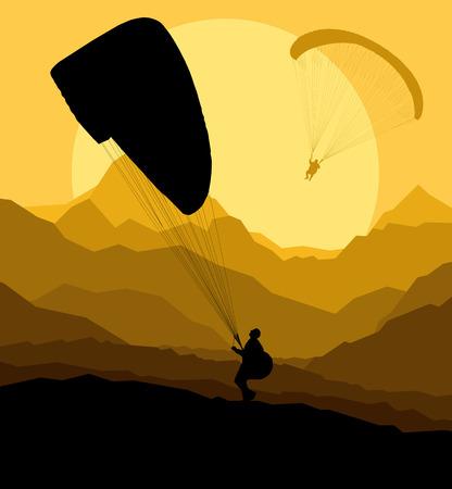 parapente: Fondo Parapente vector concepto de paisaje de vector con montañas Vectores