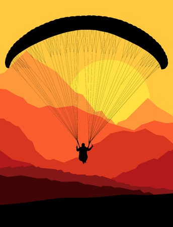 hang gliding: Paragliding vector background landscape concept vector with mountains Illustration