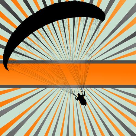 parapente: Fondo Parapente vector concepto de paisaje vector con la explosión Vectores