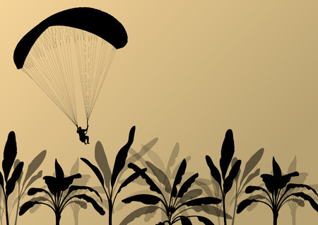 glider: Paragliding active sport background landscape concept vector with jungle leaves for poster