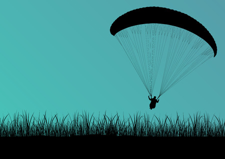 palm pilot: Paragliding active sport background landscape concept vector with jungle leaves for poster