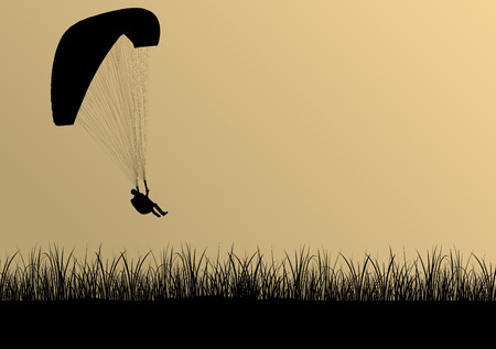 palm pilot: Paragliding active sport background landscape concept vector with jungle leaves for poster