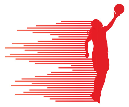 Woman basketball player vector background concept made of colorful stripes for poster Vector