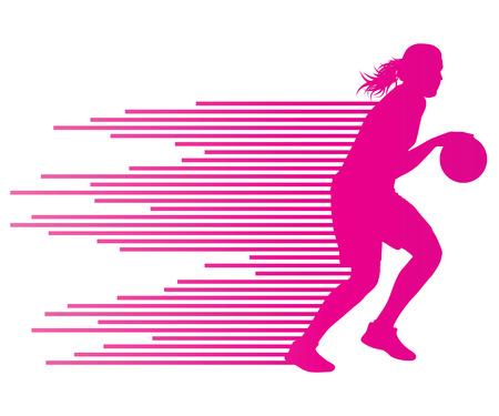 Jugador de baloncesto de la mujer del concepto del fondo del vector hecha de rayas de colores para el cartel
