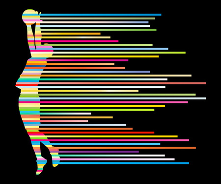 playoff: Man basketball player vector background concept made of colorful stripes for poster
