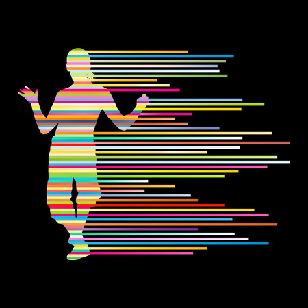hands on hips: Hip hop dancer silhouette vector background concept made of stripes for poster