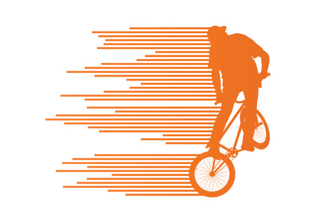 cool man: Extreme cyclists bicycle rider active teenager sport silhouettes vector background concept made of stripes for poster Illustration