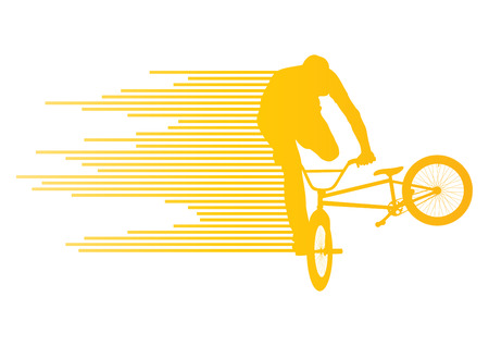 Extreme cyclists bicycle rider active teenager sport silhouettes vector background concept made of stripes for poster Vector