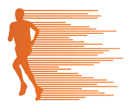 running race: Man runner silhouette vector background template concept made of stripes for poster