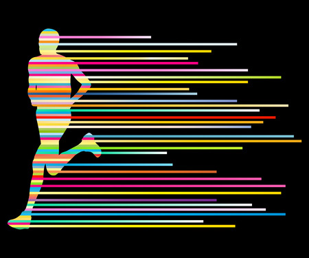 exercise silhouette: Man runner silhouette vector background template concept made of stripes for poster