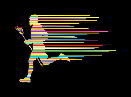 Lacrosse player in action vector background concept made of stripes for poster