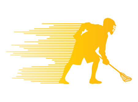 Lacrosse player in action vector background concept made of stripes for poster Vector