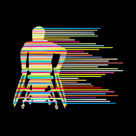 handicapped person: Man in wheelchair disabled people concept made of stripes vector background for poster