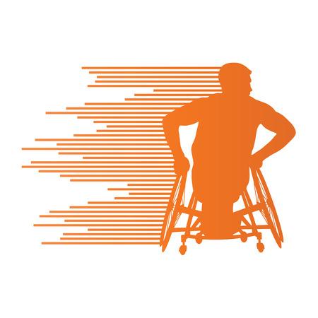 paraplegico: Hombre en silla de ruedas personas con discapacidad concepto hecha de rayas de fondo vector para el cartel