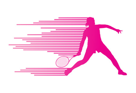 Tennis player abstract vector background concept made of stripes for poster Çizim
