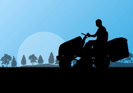 garden maintenance: Man with lawn mower tractor cutting grass in field landscape abstract background illustration vector