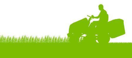 El hombre con el tractor cortacésped cortar hierba en el campo paisaje abstracto ilustración de fondo Ilustración de vector