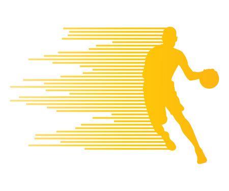 Man basketbalspeler vector achtergrond begrip gemaakt van kleurrijke strepen voor poster Stock Illustratie