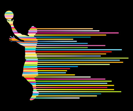 colorful stripes: Man basketball player vector background concept made of colorful stripes for poster