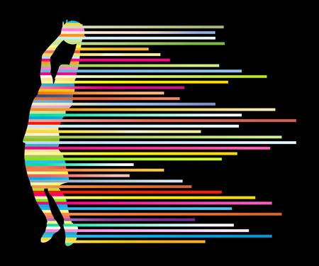 Vecteur joueur de basket-ball Homme concept de fond faite de rayures colorées pour poster Banque d'images - 28371540