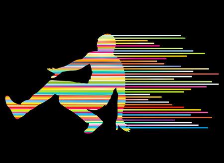 baile hip hop: Hip hop dancer silueta del vector del concepto del fondo hecha de rayas para el cartel