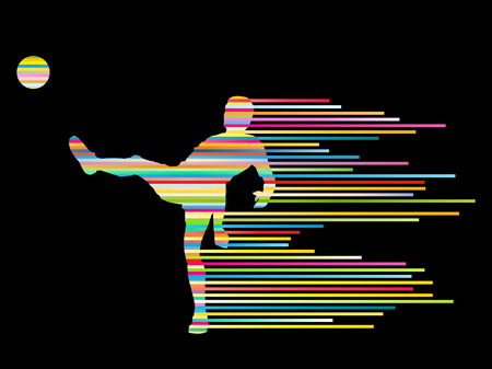 keeper: Soccer football player silhouette vector background concept made of stripes for poster