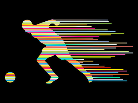 head shot: Soccer football player silhouette vector background concept made of stripes for poster