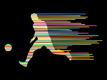 football silhouette: Soccer football player silhouette vector background concept made of stripes for poster