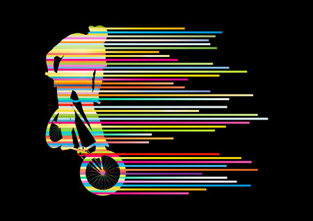 Extreme cyclists bicycle rider active teenager sport silhouettes vector background concept made of stripes for poster Illustration