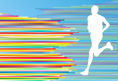 sporty: Man runner silhouette vector background template concept for poster Illustration