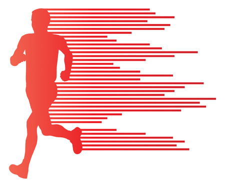 Man runner silhouette vector background template concept made of stripes for poster Vector